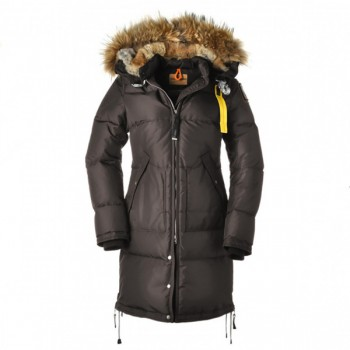 Dam Parajumpers Long Bear Jacket Fur Trim Brun